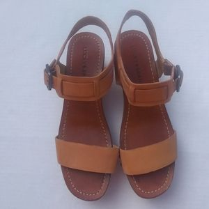 Lucky Brand Hannela Leather Wood  Sandal Sz 8